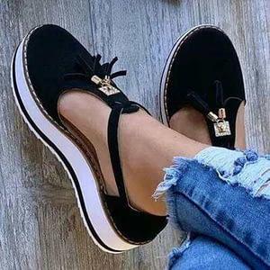 KAMUCC New Women Summer Sandals Fashion Buckle Strap Solid Fringe Cover Heel Flat Platform Heel Casual Ladies Plus Size Sandals