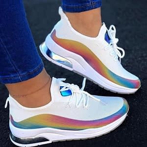 New Sneakers Women Casual Shoes Mesh Air-Cushion Flat Anti-Slip Women Sneakers Outdoor Jogging Trainer Female Vulcanized Shoes