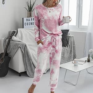 2020 2 Piece Set Gradual Change Tie Dye Print Light Blue Casual Long Sleeve T shirt+Pants Women's Two Piece New Outfits