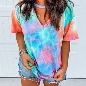 Hollow Out T-shirt Tie Dye Tops Tee Women Summer Short Sleeve 2020 harajuku camiseta mujer tee shirt femme streetwear v-neck tee