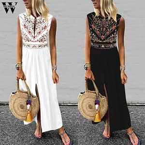 Sleeveless Fashion Sexy Printed Long Dress