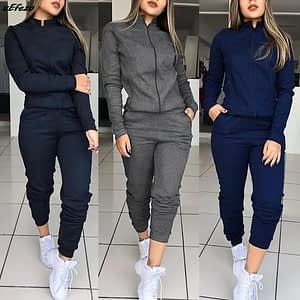Women 2 Pcs Tracksuit Sports Long Sleeve Sweatshirts Thin Fleece Joggers Suits Running Set Workout Gym Spring Sportswear