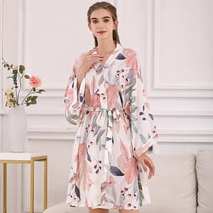 2020 Spring & Summer New Ladies Silk Satin Sleep Robe Kinomo Style Sweet Homerwear Women Comfort Thin Loose Poplin Sleep-Dress