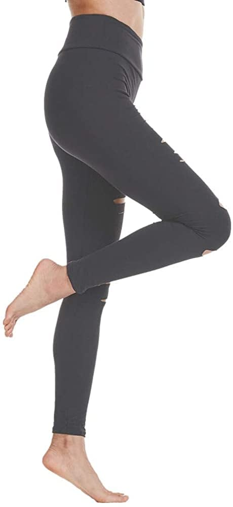 FOXWISH High Waist Yoga Pants Cutout Ripped Skinny Leggings for Women Super Soft and Comfortable