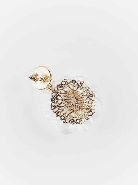 back of white floral earring