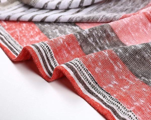 BISHUIGE Women's 3/4 Sleeve Cardigans Striped Printed Kimono Loose Cardigan