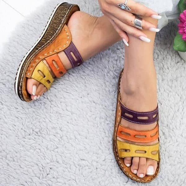 Women Slippers Mixed Color Shoes Hollow Wedges Platform Flat Sole Beach Mules Ladies Slides Party Sandals Zapatos Mujer
