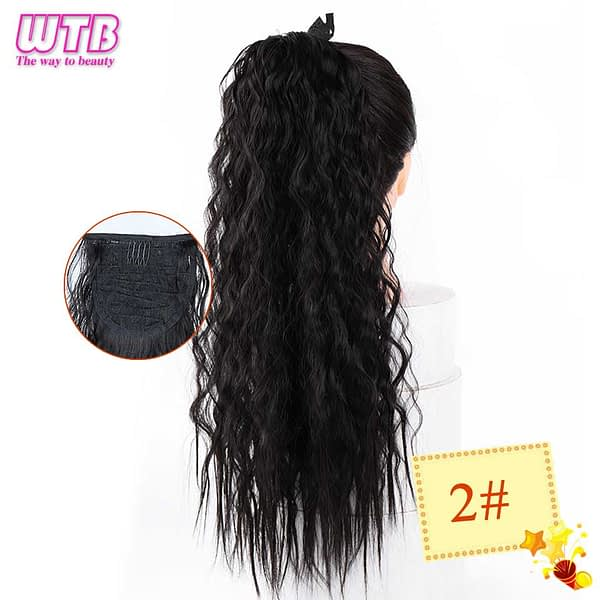 WTB Long Corn Curly Fake Hair Pieces Drawstring Ponytail Extensions for Women Synthetic High Temperature Fiber Hair Extensions