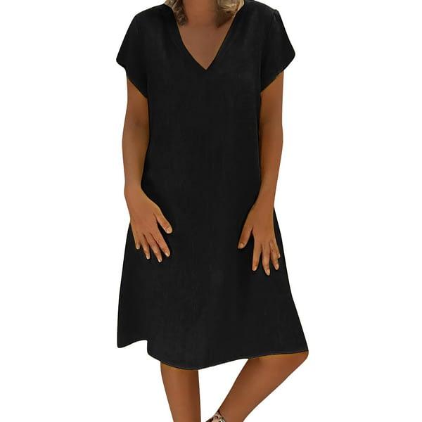 NEW Women Dress Solid Color V Neck Cotton Dress Casual Holiday Beach Sundress Dress Fashion Beach Vestidos Mujer 2020 Plus Size