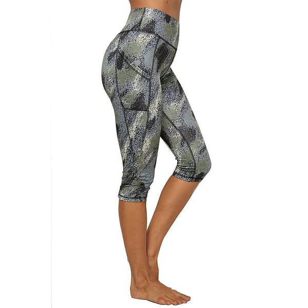JGS1996 High Waist Yoga Pants with Pockets Tummy Control Yoga Capris for Women 4 Way Stretch Capri Leggings with Pockets