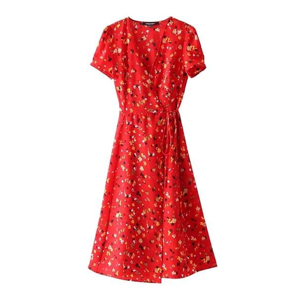 Sweet Red Floral Print A-Line Dress Summer V-Neck Wrap Bow Tie Split Dress 90s Streetwear Casual Dresses Vestido Sundress