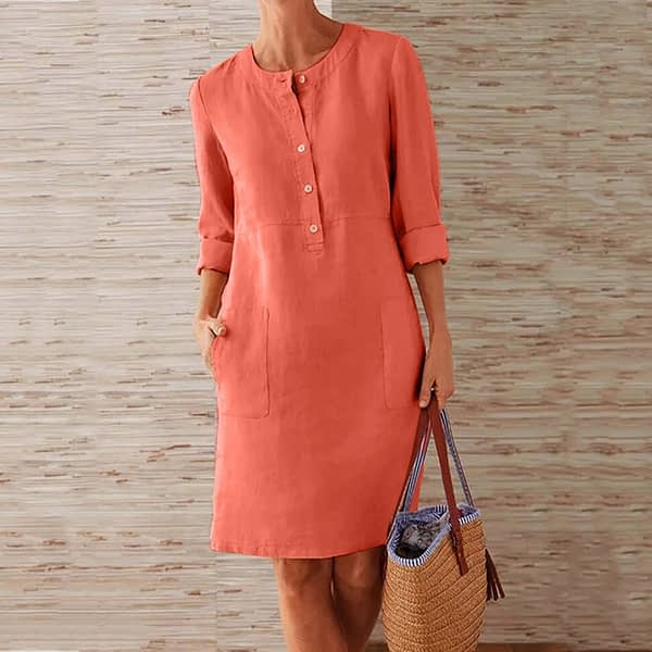 Cool Round Neck Long Sleeve Pocket Linen Dress
