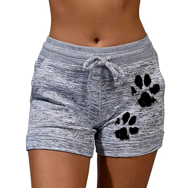 New Summer Fast Drying Drawstring cat paw print shorts Lace Up High Waist Elastic Cotton Short Women Beach Casual Sport Shorts