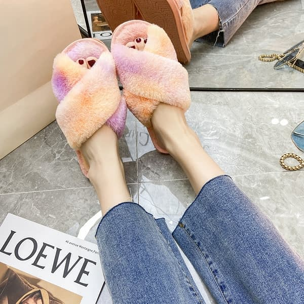 Puimentiua Winter Women Home Slippers with Faux Fur Fashion Warm Shoes Woman Slip on Flats Female Slides Leopard Plus Size 40 41