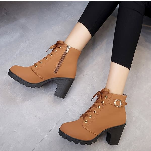 Plus Size Ankle Boots Women Platform High Heels Buckle Shoes Thick Heel Short Boot Ladies Casual Footwear Drop Shipping