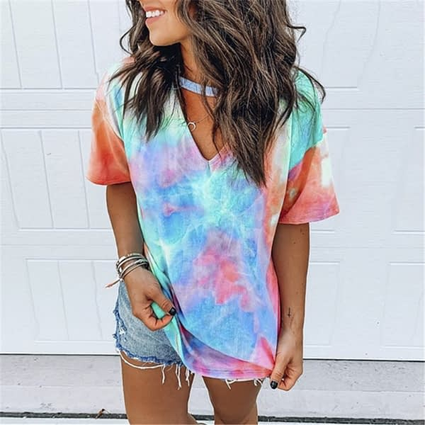 Hollow Out T-shirt Tie Dye Tops Tee Women Summer Short Sleeve 2020 harajuku camiseta mujer tee shirt femme streetwear v-neck tee