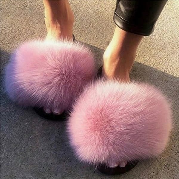 Sexy Faux Fur Slippers Women Furry Fluffy Slippers Outdoor Indoor Home Flat Shoes Female Casual Flip Flops Slides Dropshopping