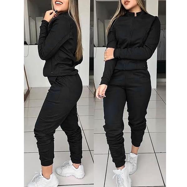 Women 2 Pcs Tracksuit Sports Long Sleeve Sweatshirts Thin Fleece Joggers Suits Running Set Workout Gym Spring Sportswear
