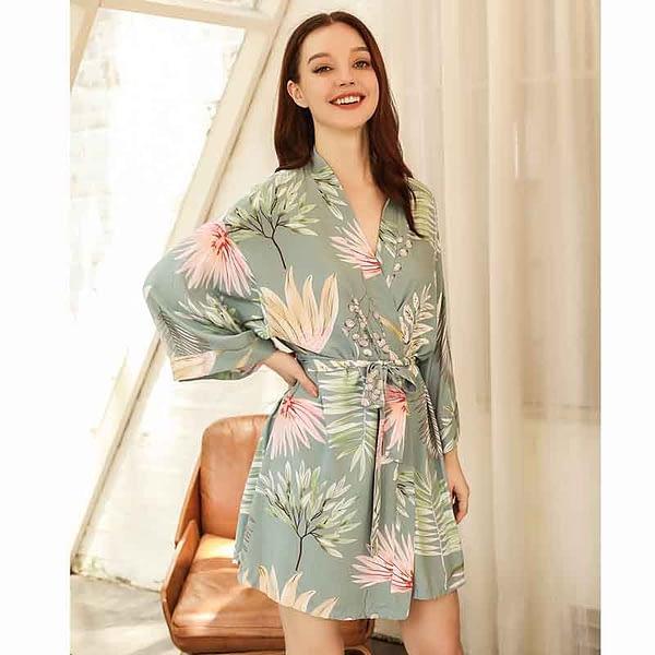 2020 Spring & Summer New Ladies Silk Satin Sleep Robe Kinomo Style Sweet Homerwear Women Comfort Thin Loose Poplin Sleep-Dress