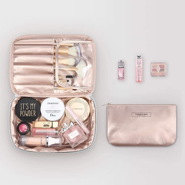 Mossio Portable Travel Makeup Beauty Bag Multifunction Cosmetic Organizer for Women Girls with Inner Pouch