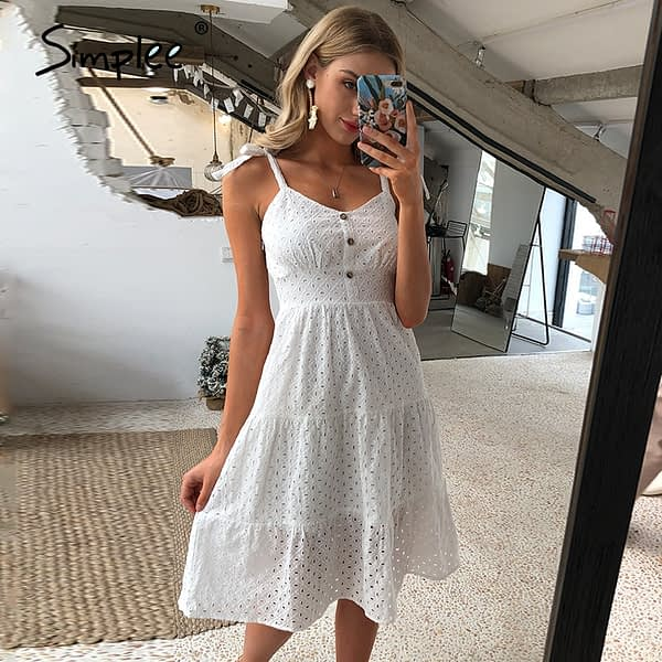 Simplee Casual white women summer beach dress Bow-knot spaghetti embroidery female midi dress backless holiday dress vestidos