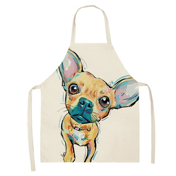 68x55cm Kitchen Household Adult Antifouling Apron Sleeveless Polyester Dog Animal Series Printed Coverall