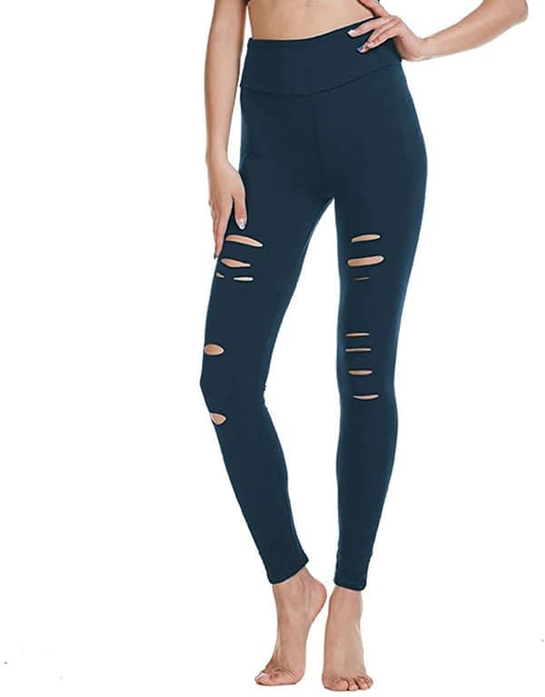 High Waist Yoga Pants Cutout Ripped Skinny Leggings for Women Super Soft and Comfortable